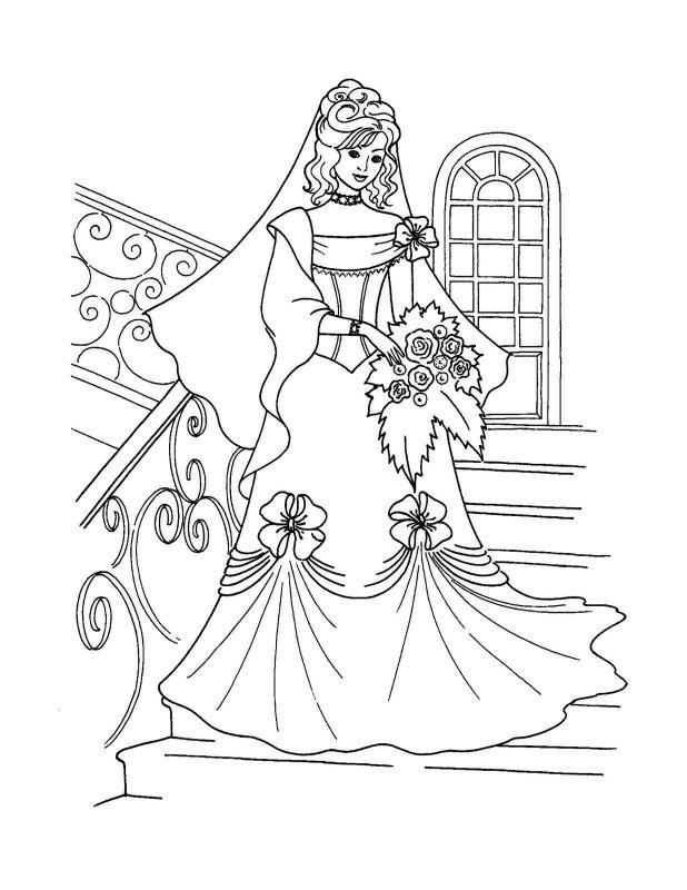 Раскраски платьев для девочек онлайн