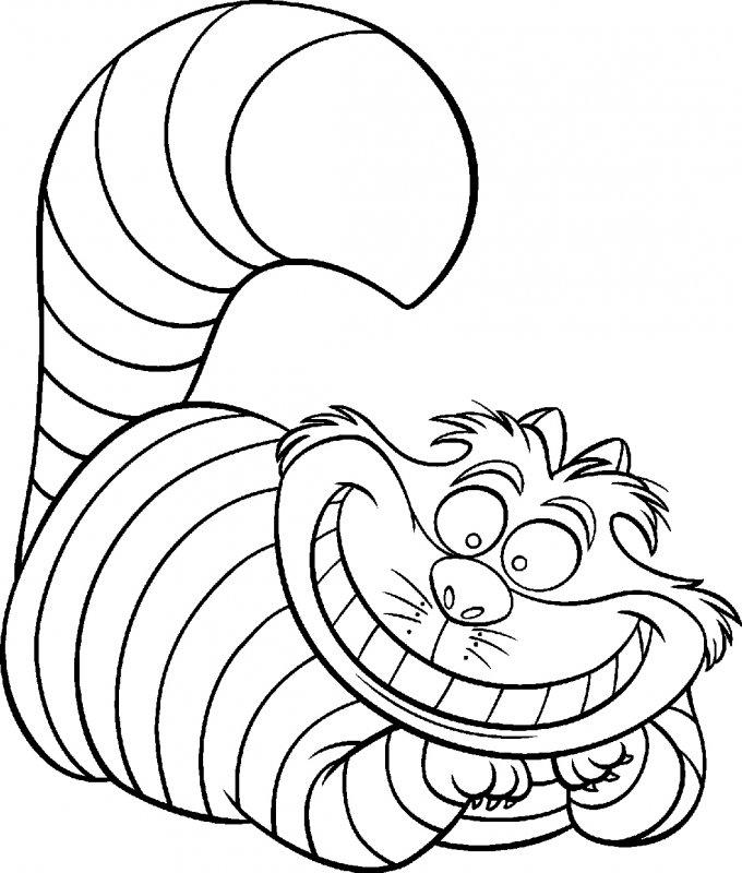 Раскраска чеширский кот